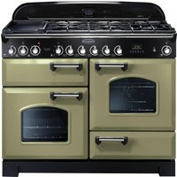 RANGEMASTER Classic Deluxe 110 Dual Fuel Range Cooker - Olive Green & Chrome, Olive