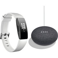 FITBIT Inspire HR Fitness Tracker & Home Mini Bundle - Charcoal, Charcoal