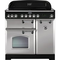 Rangemaster Classic Deluxe 90 Electric Ceramic Range Cooker - Royal Pearl and Chrome
