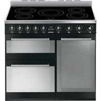 SMEG Symphony 90 cm Electric Induction Range Cooker - Black and Stainless Steel, Stainless Steel