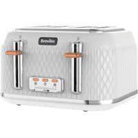 Buy BREVILLE Curve VTT787 4-Slice Toaster - White, White - Currys PC World