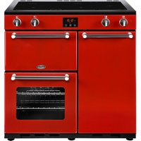 BELLING Kensington 90 cm Electric Induction Range Cooker - Red and Chrome, Red