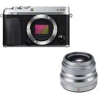 Fujifilm X-e3 Mirrorless Camera & Fujinon Xf 35 Mm F/2 R Wr Standard Prime Lens Bundle - Silver, Silver