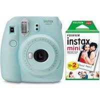 INSTAX mini 9 Instant Camera & Mini Film 20 Shot Pack Bundle - Ice Blue, Blue