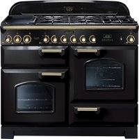 RANGEMASTER Classic Deluxe 110 Dual Fuel Range Cooker - Black and Brass, Black