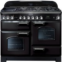 Rangemaster Classic Deluxe 110 Dual Fuel Range Cooker - Black & Chrome, Black