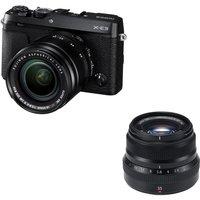 Fujifilm X-e3 Mirrorless Camera, Xf 18-55 Mm F/2.8-4 R Lm Ois Lens & Fujinon Xf 35 Mm F/2.0 R Wr Standard Prime Lens Bundle