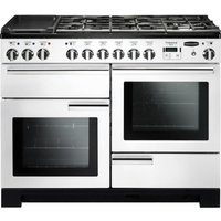 Rangemaster Professional Deluxe 110 Dual Fuel Range Cooker - White and Chrome, White