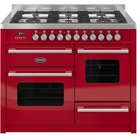 BRITANNIA Delphi 110 RC11XGGDERED Dual Fuel Range Cooker - Gloss Red & Stainless Steel, Stainless Steel