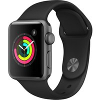APPLE Watch Series 3 - Space Grey & Black Sports Band, 38 mm, Grey