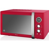 SWAN SM22080RN Retro Digital Microwave with Grill - Red, Red