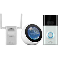 RING Video Doorbell 2, Chime Pro Wi-Fi Extender and Amazon Echo Spot Bundle - White, White