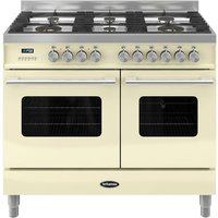 BRITANNIA Delphi RC10TGDECR Dual Fuel Range Cooker - Gloss Cream and Stainless Steel, Stainless Steel
