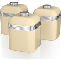 SWAN  Retro SWKA1020CN 1-litre Canisters - Cream, Pack of 3, Cream