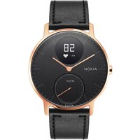 NOKIA Steel HR 36 Fitness Watch - Rose Gold and Black, Leather Strap, Gold