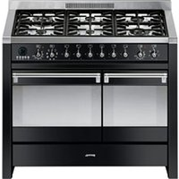 SMEG Opera 100 cm Dual Fuel Range Cooker - Black, Black