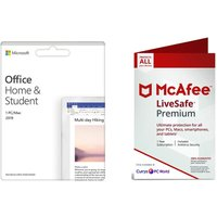 MCAFEE Office Home & Student 2019 (lifetime, 1 user) & MCAFEE LiveSafe Premium (unlimited devices, 1 year) Bundle