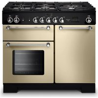 RANGEMASTER Kitchener 100 Dual Fuel Range Cooker - Cream & Chrome, Cream