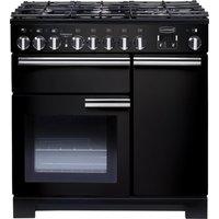 RANGEMASTER Professional Deluxe 90 Dual Fuel Range Cooker - Black and Chrome, Black