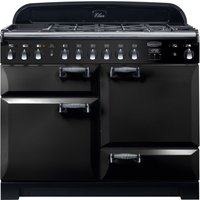 Rangemaster Elan Deluxe ELA110DFFBL 110 cm Dual Fuel Range Cooker - Black and Chrome, Black