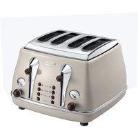 Buy DELONGHI Icona Vintage CTO-V4003BG 4-Slice Toaster - Cream, Cream - Currys PC World