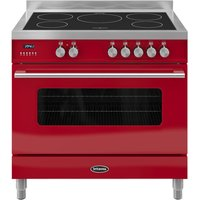 BRITANNIA Delphi 90 RC9SIDERED Electric Induction Range Cooker - Gloss Red & Stainless Steel, Stainless Steel