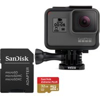 Gopro HERO6 4K Camcorder & Extreme Plus microSD Memory Card Bundle - 32 GB