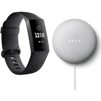 FITBIT Charge 3 Fitness Tracker Black & Chalk Google Nest Mini (2nd Gen) Bundle, Black