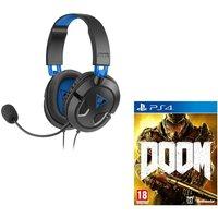 TURTLE BEACH Earforce Recon 50p Gaming Headset & Doom - Black & Blue, Black