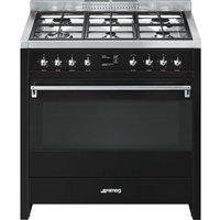 SMEG A1BL-9 90 cm Dual Fuel Range Cooker - Black and Stainless Steel, Stainless Steel
