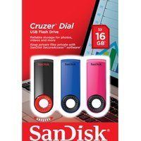 Sandisk Cruzer Dial Usb 2.0 Memory Stick - 16 Gb, Pack Of 3