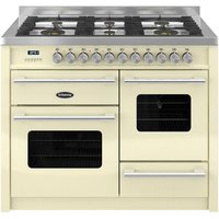 BRITANNIA Delphi RC11XGGDECR Dual Fuel Range Cooker - Gloss Cream and Stainless Steel, Stainless Steel