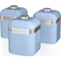 SWAN Retro SWKA1020BLN 1-litre Canisters - Blue, Pack of 3, Blue