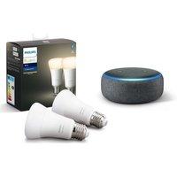 Philips Hue White Bluetooth LED E27 Bulb Twin Pack & Echo Dot (2018) - Charcoal, White