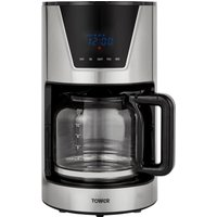 TOWER T13010 Filter Coffee Machine - Silver, Silver