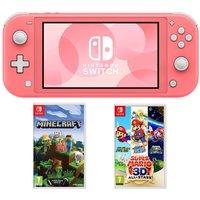 NINTENDO Switch Lite, Minecraft & Super Mario 3D All-Stars Bundle - Coral, Coral