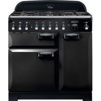 Rangemaster Elan Deluxe ELA90DFFBL 90 cm Dual Fuel Range Cooker - Black and Chrome, Black