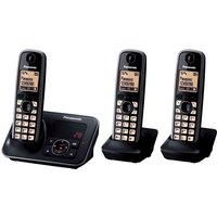 Panasonic Kx-tg6623eb Cordless Phone With Answering Machine - Triple Handsets, Black