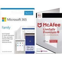 MICROSOFT 365 Family & McAfee LiveSafe Premium 2020 Bundle - 1 year for 6 users + 3 Months Extra Time