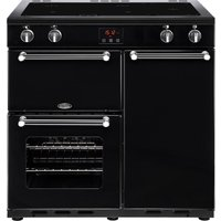 BELLING Kensington 90 cm Electric Induction Range Cooker - Black and Chrome, Black
