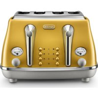 Buy DELONGHI Icona Capitals CTOC4003.Y 4-Slice Toaster - Yellow, Yellow - Currys PC World