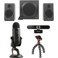 SANDSTROM Yeti Professional USB Microphone, Gorillapod Starter Kit, Full HD Webcam & 2.1 PC Speakers Bundle