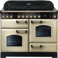 RANGEMASTER Classic Deluxe 110 Electric Ceramic Range Cooker - Cream & Brass, Cream