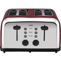Buy LOGIK L04TR14 4-Slice Toaster - Silver & Red, Silver - Currys PC World