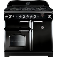 Rangemaster Classic 100 Gas Range Cooker - Black and Chrome, Black