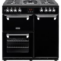 STOVES Ellingwood 90DFT Dual Fuel Range Cooker - Black and Chrome, Black