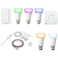 Philips Hue White & Colour E27 Smart Bulb Kit, Lightstrip Plus & White B22 Wireless Bulbs Bundle, White