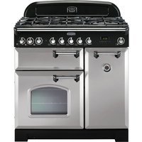 RANGEMASTER Classic Deluxe 90 Dual Fuel Range Cooker - Royal Pearl and Chrome, Brown