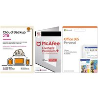 MCAFEE LiveSafe Unlimited Devices, Microsoft Office 365 1 User & Knowhow 2 TB Cloud Backup Bundle - 1 year.