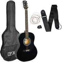 3RD AVENUE STX10ABKPK Acoustic Guitar Bundle - Black, Black